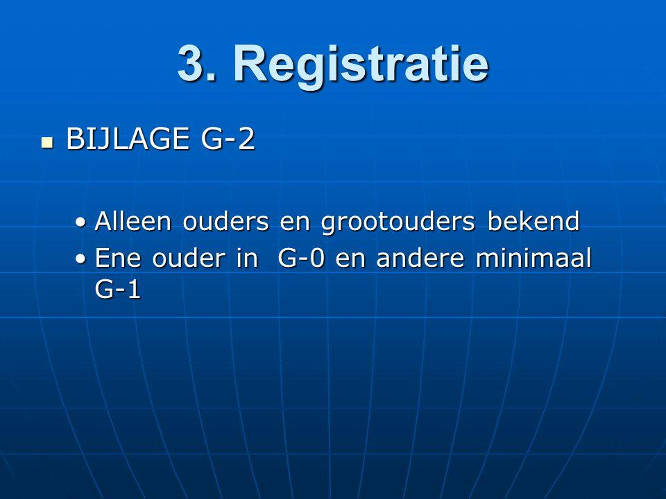 3. Registratie BIJLAGE G-2 BIJLAGE G-2 Alleen ouders en grootouders bekendAlleen ouders en grootouders bekend Ene ouder in G-0 en andere minimaal G-1E
