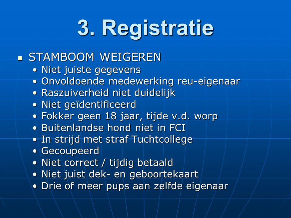 3. Registratie STAMBOOM WEIGEREN STAMBOOM WEIGEREN Niet juiste gegevensNiet juiste gegevens Onvoldoende medewerking reu-eigenaarOnvoldoende medewerkin