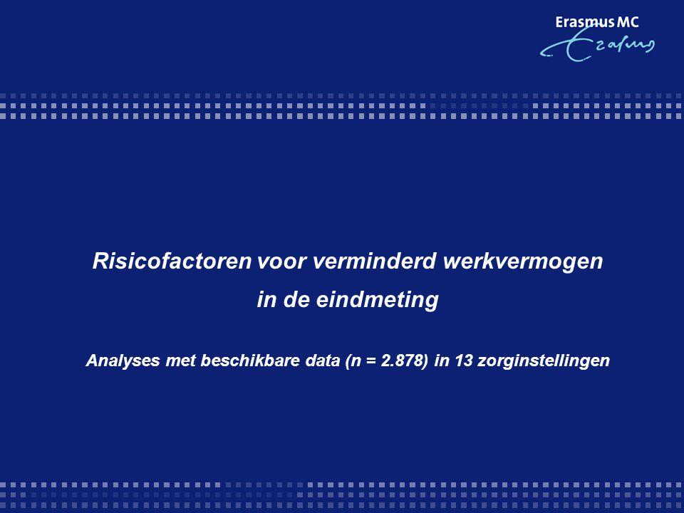 Risicofactoren voor verminderd werkvermogen in de eindmeting Analyses met beschikbare data (n = 2.878) in 13 zorginstellingen