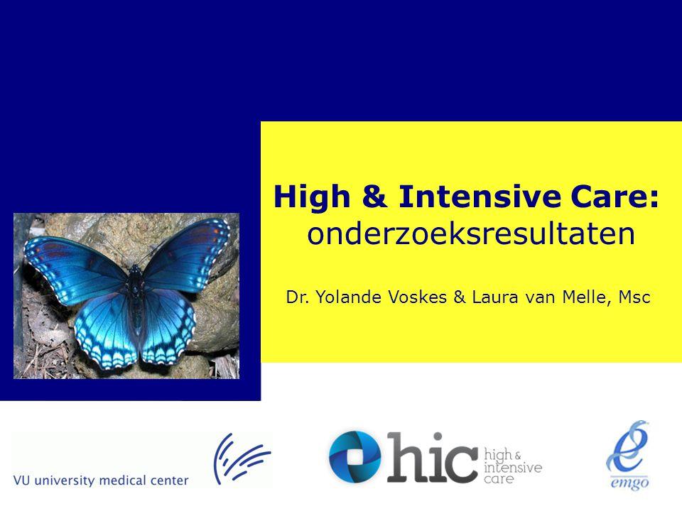 Quality of CareResearch Programme > High & Intensive Care: onderzoeksresultaten Dr. Yolande Voskes & Laura van Melle, Msc
