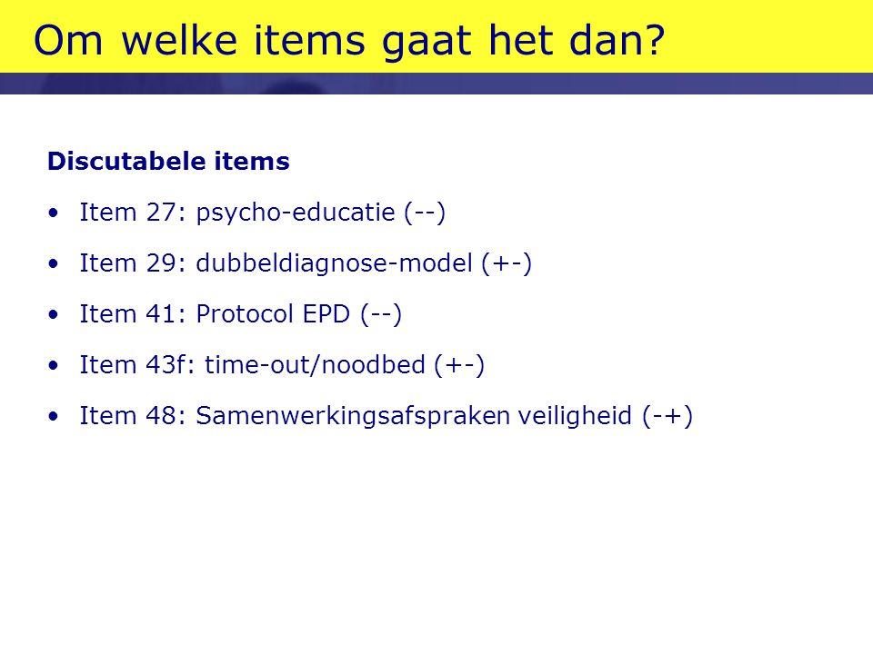 Om welke items gaat het dan? Discutabele items Item 27: psycho-educatie (--) Item 29: dubbeldiagnose-model (+-) Item 41: Protocol EPD (--) Item 43f: t