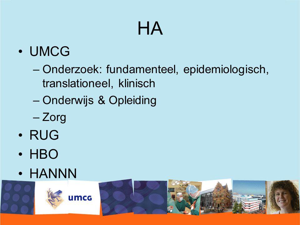 HA UMCG –Onderzoek: fundamenteel, epidemiologisch, translationeel, klinisch –Onderwijs & Opleiding –Zorg RUG HBO HANNN