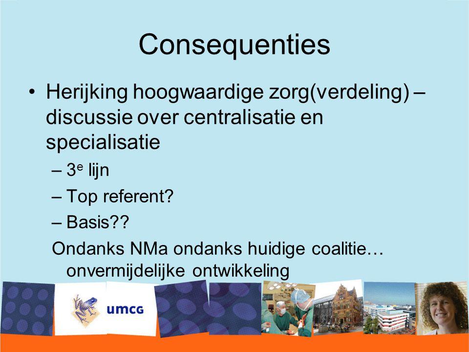 Consequenties Herijking hoogwaardige zorg(verdeling) – discussie over centralisatie en specialisatie –3 e lijn –Top referent.
