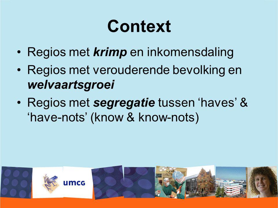 Context Regios met krimp en inkomensdaling Regios met verouderende bevolking en welvaartsgroei Regios met segregatie tussen 'haves' & 'have-nots' (kno