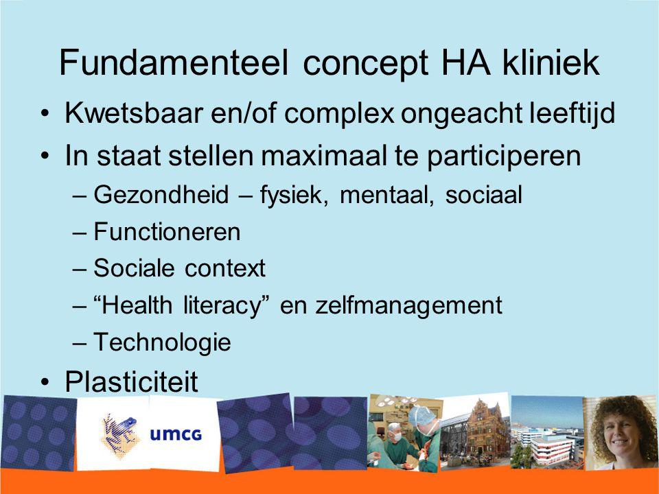 Fundamenteel concept HA kliniek Kwetsbaar en/of complex ongeacht leeftijd In staat stellen maximaal te participeren –Gezondheid – fysiek, mentaal, sociaal –Functioneren –Sociale context – Health literacy en zelfmanagement –Technologie Plasticiteit