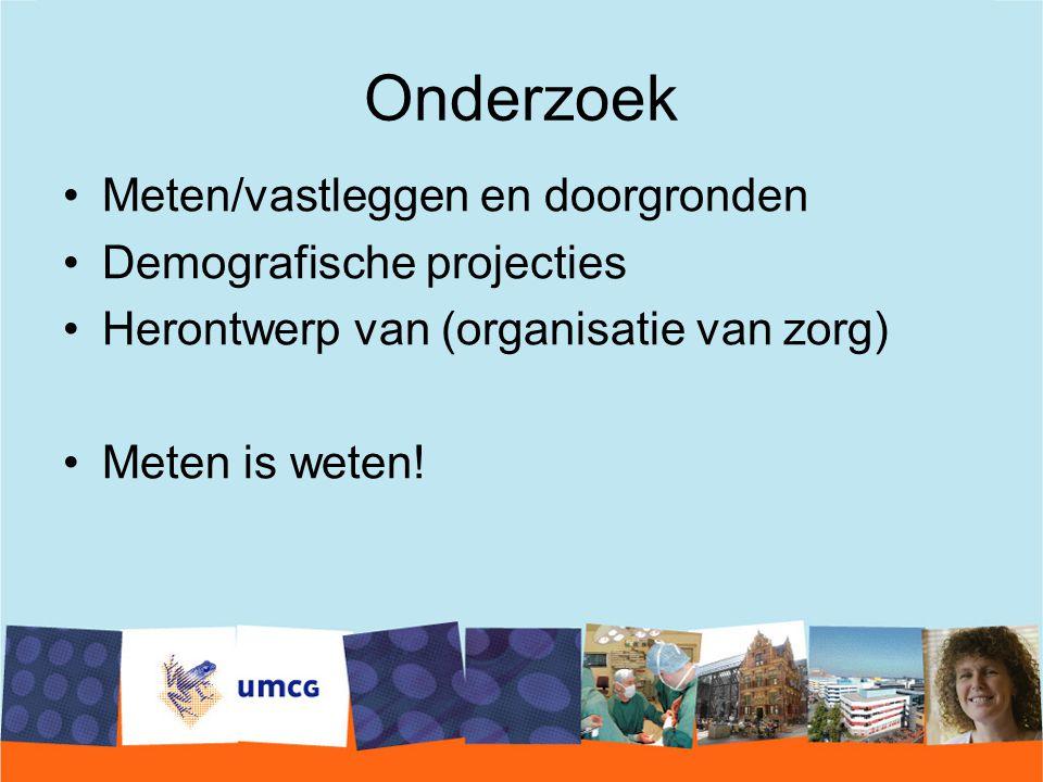 Onderzoek Meten/vastleggen en doorgronden Demografische projecties Herontwerp van (organisatie van zorg) Meten is weten!