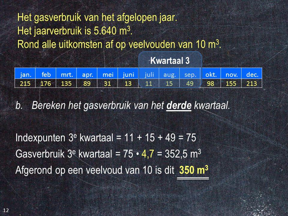 Het gasverbruik van het afgelopen jaar. Het jaarverbruik is 5.640 m 3. Rond alle uitkomsten af op veelvouden van 10 m 3. jan. feb mrt. apr. mei juni j