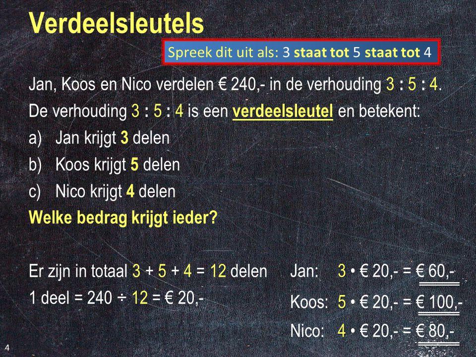 Jan, Koos en Nico verdelen € 240,- in de verhouding 3 : 5 : 4.