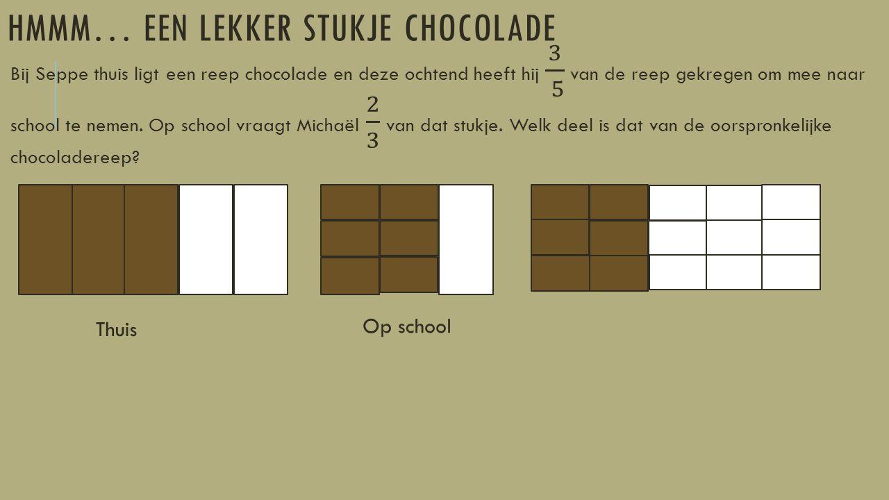 HMMM… EEN LEKKER STUKJE CHOCOLADE Thuis Op school