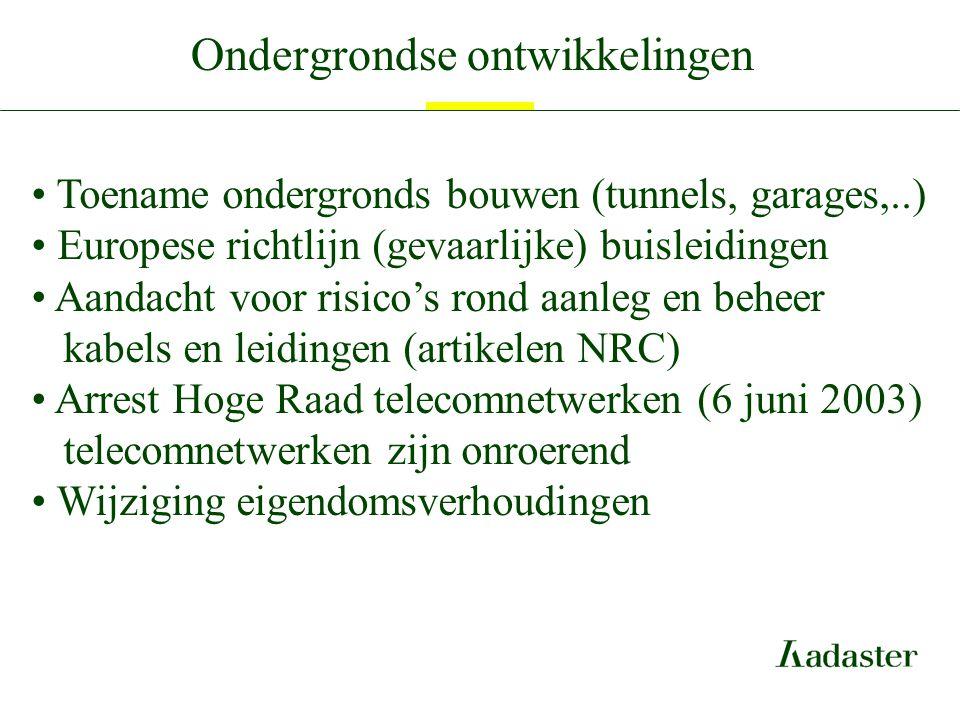 Ondergrondse ontwikkelingen Toename ondergronds bouwen (tunnels, garages,..) Europese richtlijn (gevaarlijke) buisleidingen Aandacht voor risico's ron