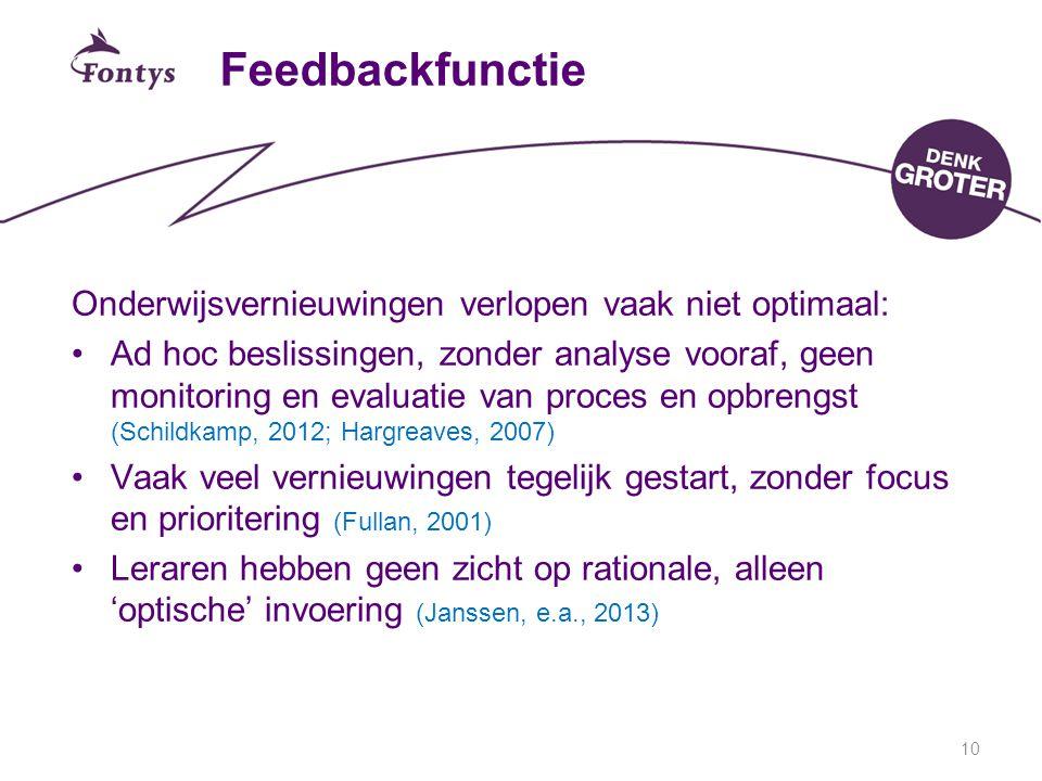 10 Feedbackfunctie Onderwijsvernieuwingen verlopen vaak niet optimaal: Ad hoc beslissingen, zonder analyse vooraf, geen monitoring en evaluatie van proces en opbrengst (Schildkamp, 2012; Hargreaves, 2007) Vaak veel vernieuwingen tegelijk gestart, zonder focus en prioritering (Fullan, 2001) Leraren hebben geen zicht op rationale, alleen 'optische' invoering (Janssen, e.a., 2013)