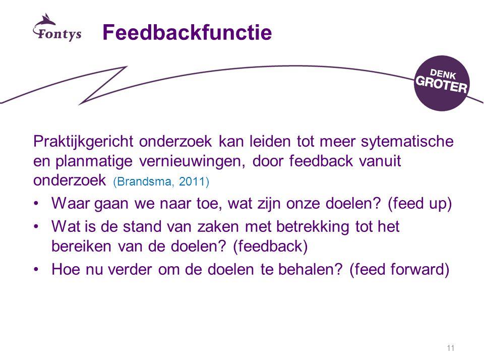 11 Feedbackfunctie Praktijkgericht onderzoek kan leiden tot meer sytematische en planmatige vernieuwingen, door feedback vanuit onderzoek (Brandsma, 2011) Waar gaan we naar toe, wat zijn onze doelen.