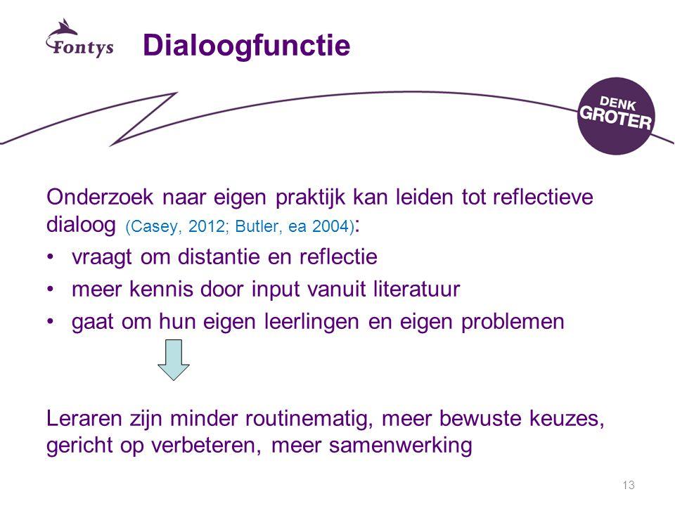 13 Dialoogfunctie Onderzoek naar eigen praktijk kan leiden tot reflectieve dialoog (Casey, 2012; Butler, ea 2004) : vraagt om distantie en reflectie meer kennis door input vanuit literatuur gaat om hun eigen leerlingen en eigen problemen Leraren zijn minder routinematig, meer bewuste keuzes, gericht op verbeteren, meer samenwerking