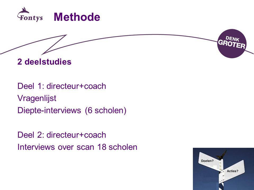 15 Methode 2 deelstudies Deel 1: directeur+coach Vragenlijst Diepte-interviews (6 scholen) Deel 2: directeur+coach Interviews over scan 18 scholen
