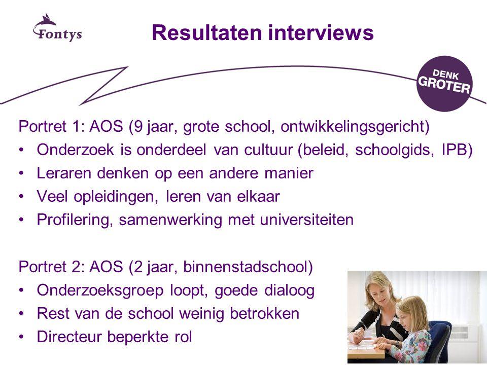 Resultaten interviews Portret 1: AOS (9 jaar, grote school, ontwikkelingsgericht) Onderzoek is onderdeel van cultuur (beleid, schoolgids, IPB) Leraren