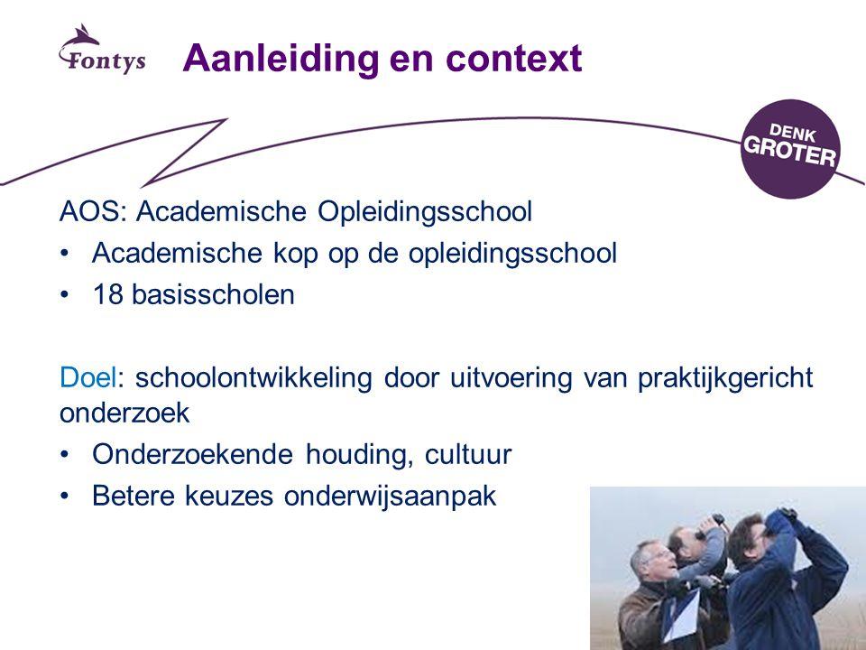 2 Aanleiding en context AOS: Academische Opleidingsschool Academische kop op de opleidingsschool 18 basisscholen Doel: schoolontwikkeling door uitvoer