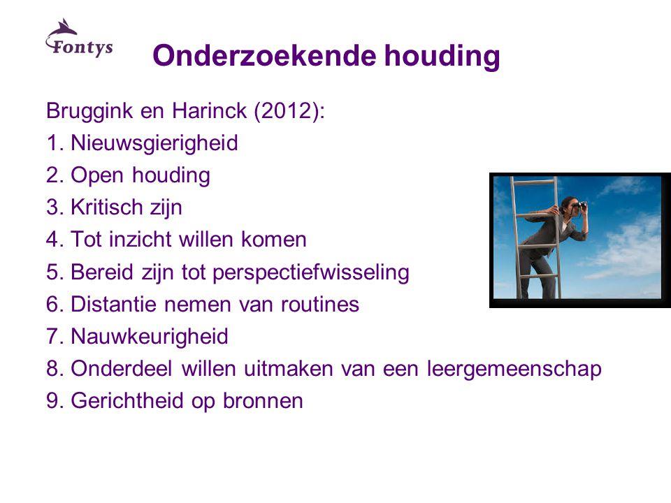 Onderzoekende houding Bruggink en Harinck (2012): 1. Nieuwsgierigheid 2. Open houding 3. Kritisch zijn 4. Tot inzicht willen komen 5. Bereid zijn tot