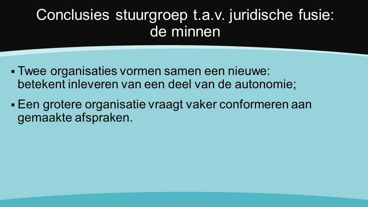 Conclusies stuurgroep t.a.v.