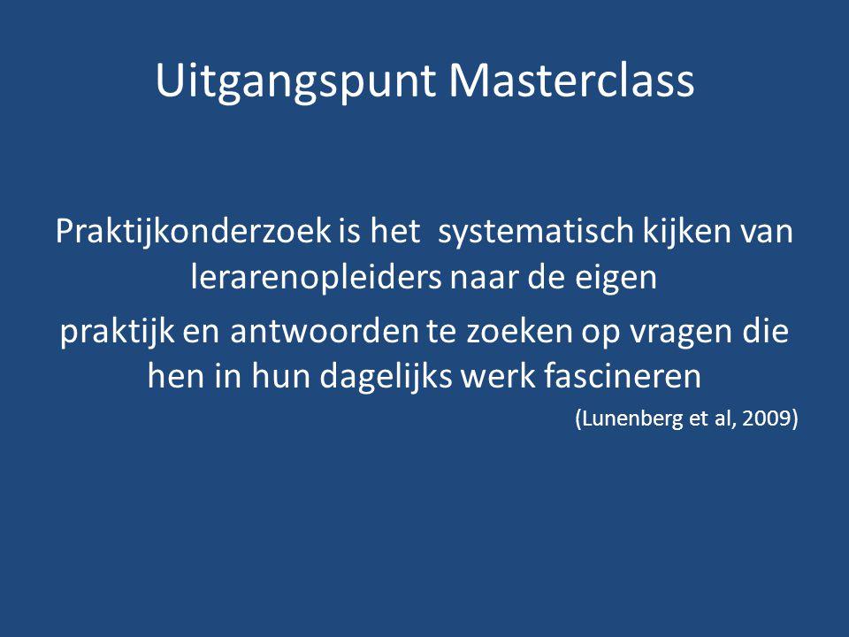 Uitgangspunt Masterclass Praktijkonderzoek is het systematisch kijken van lerarenopleiders naar de eigen praktijk en antwoorden te zoeken op vragen die hen in hun dagelijks werk fascineren (Lunenberg et al, 2009)