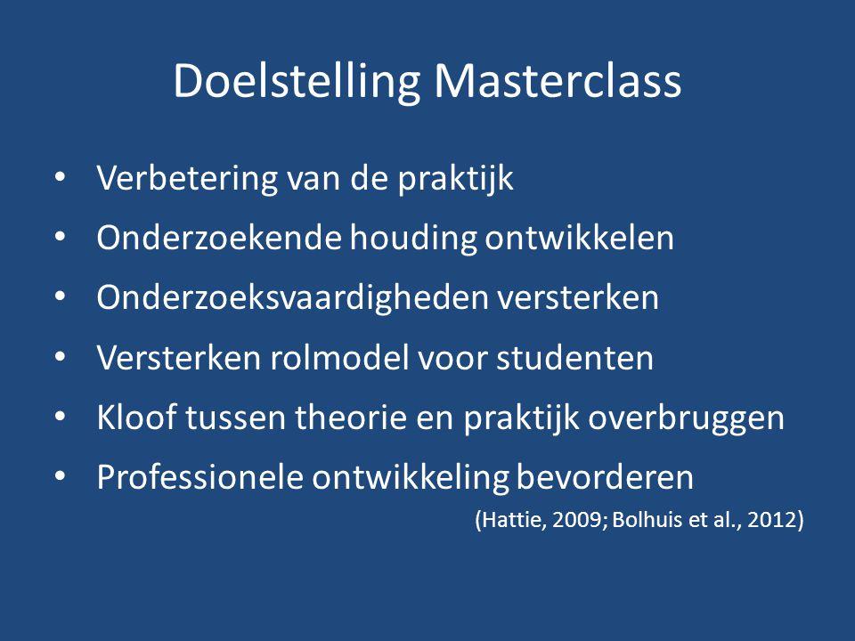 Doelstelling Masterclass Verbetering van de praktijk Onderzoekende houding ontwikkelen Onderzoeksvaardigheden versterken Versterken rolmodel voor stud