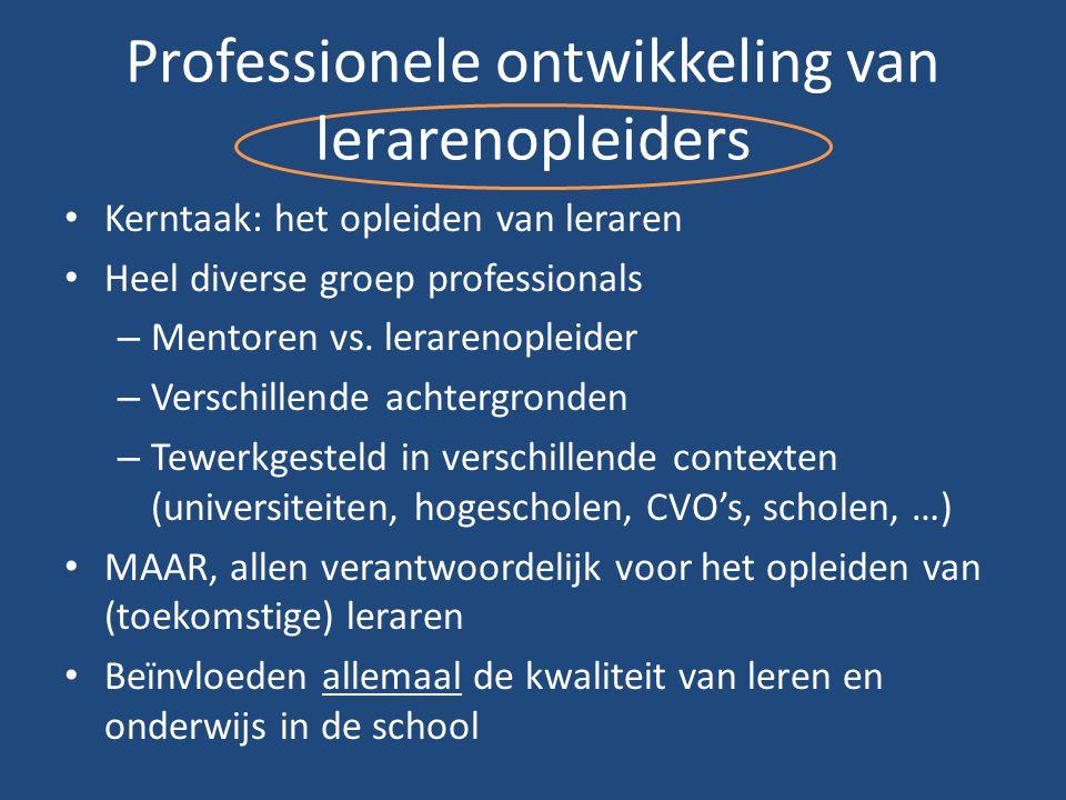 Professionele ontwikkeling van lerarenopleiders Kerntaak: het opleiden van leraren Heel diverse groep professionals – Mentoren vs. lerarenopleider – V