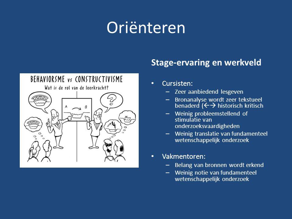 Oriënteren Stage-ervaring en werkveld Cursisten: – Zeer aanbiedend lesgeven – Bronanalyse wordt zeer tekstueel benaderd (  historisch kritisch – Wei