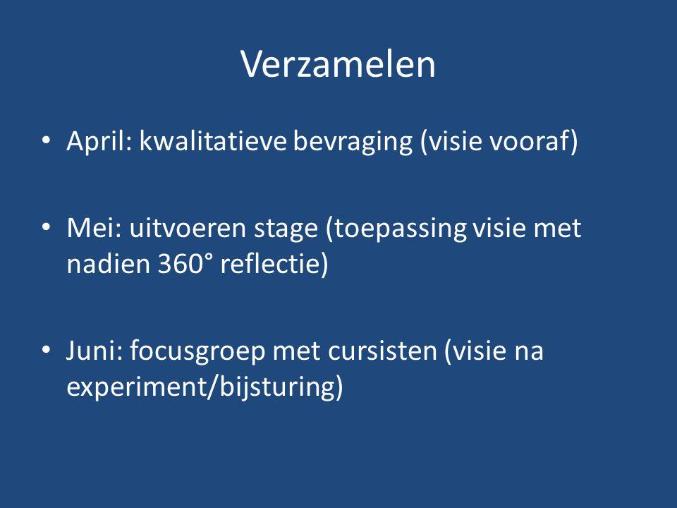 Verzamelen April: kwalitatieve bevraging (visie vooraf) Mei: uitvoeren stage (toepassing visie met nadien 360° reflectie) Juni: focusgroep met cursisten (visie na experiment/bijsturing)