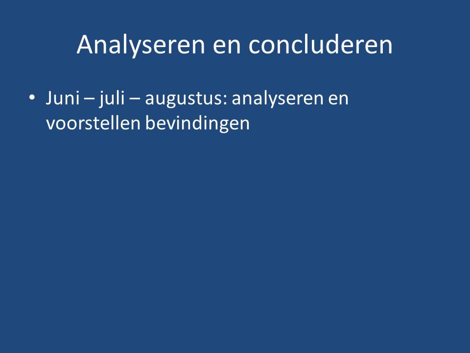 Analyseren en concluderen Juni – juli – augustus: analyseren en voorstellen bevindingen