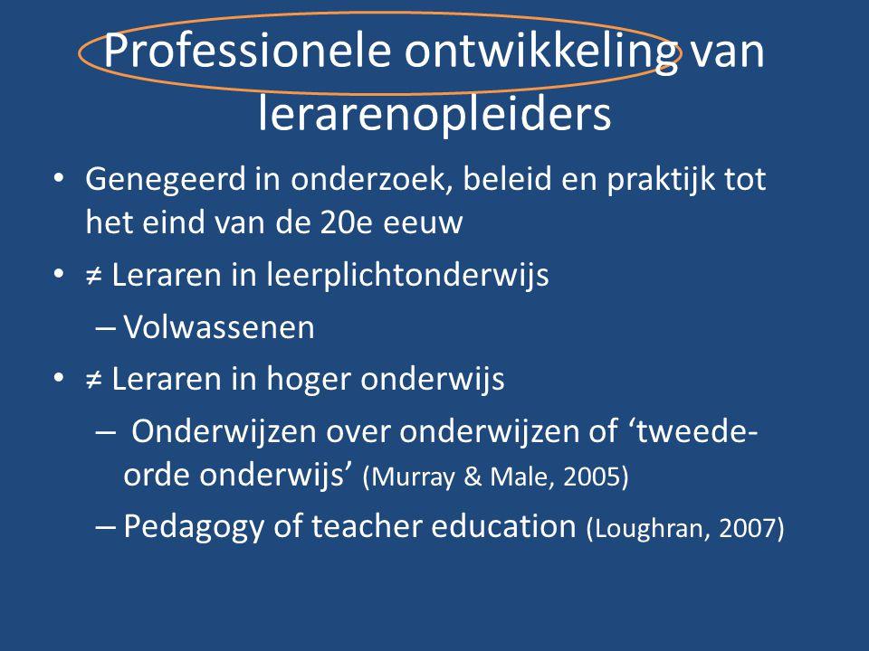 Professionele ontwikkeling van lerarenopleiders Genegeerd in onderzoek, beleid en praktijk tot het eind van de 20e eeuw ≠ Leraren in leerplichtonderwi