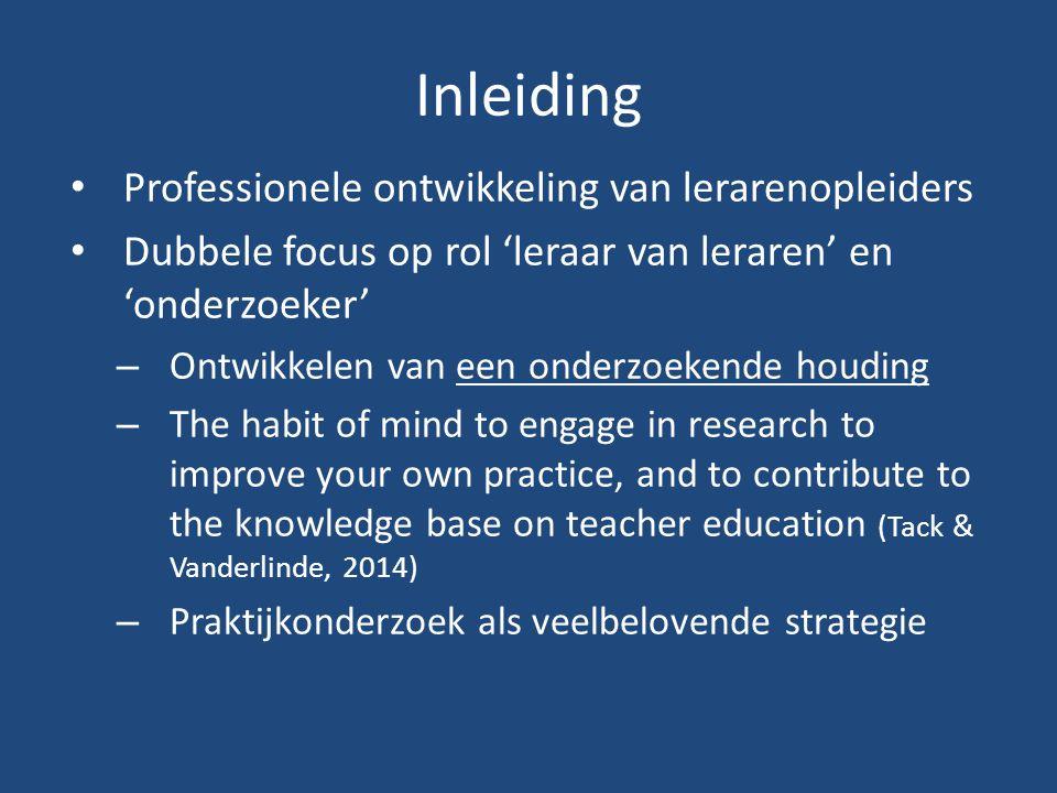 Inleiding Professionele ontwikkeling van lerarenopleiders Dubbele focus op rol 'leraar van leraren' en 'onderzoeker' – Ontwikkelen van een onderzoeken