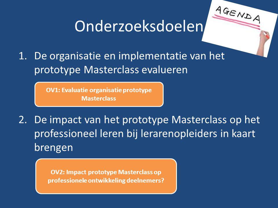 Onderzoeksdoelen 1.De organisatie en implementatie van het prototype Masterclass evalueren 2.De impact van het prototype Masterclass op het profession
