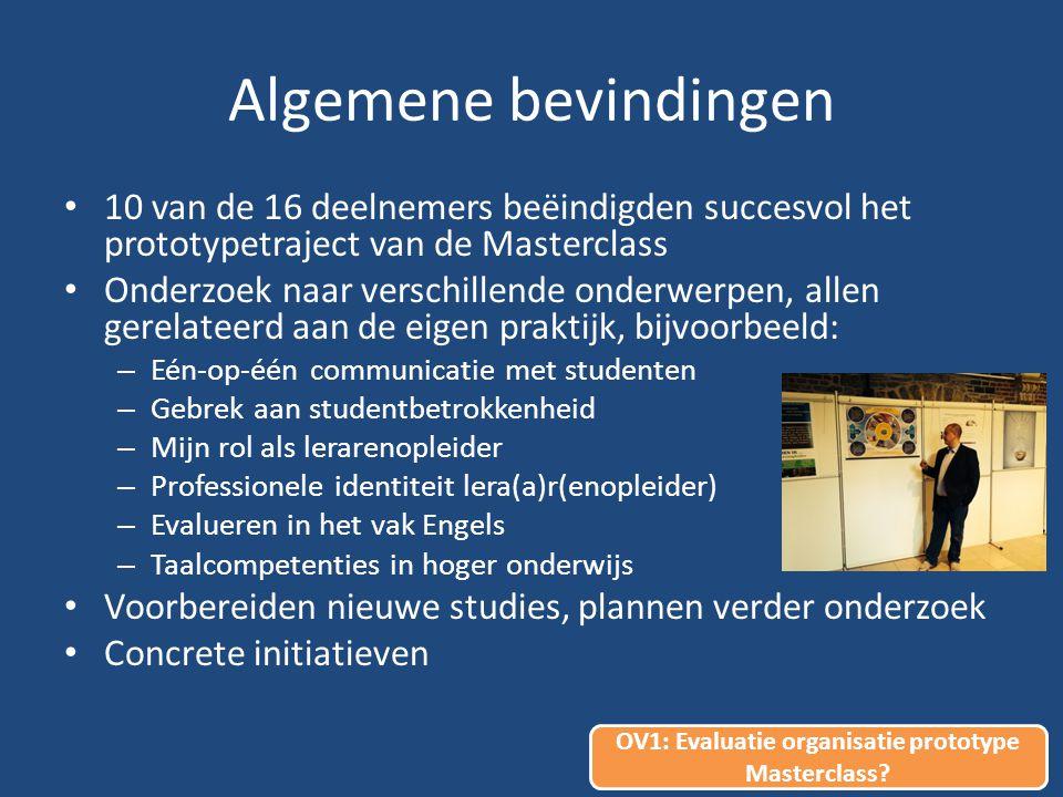 Algemene bevindingen 10 van de 16 deelnemers beëindigden succesvol het prototypetraject van de Masterclass Onderzoek naar verschillende onderwerpen, allen gerelateerd aan de eigen praktijk, bijvoorbeeld: – Eén-op-één communicatie met studenten – Gebrek aan studentbetrokkenheid – Mijn rol als lerarenopleider – Professionele identiteit lera(a)r(enopleider) – Evalueren in het vak Engels – Taalcompetenties in hoger onderwijs Voorbereiden nieuwe studies, plannen verder onderzoek Concrete initiatieven OV1: Evaluatie organisatie prototype Masterclass?