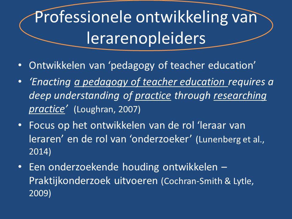 Professionele ontwikkeling van lerarenopleiders Ontwikkelen van 'pedagogy of teacher education' 'Enacting a pedagogy of teacher education requires a d