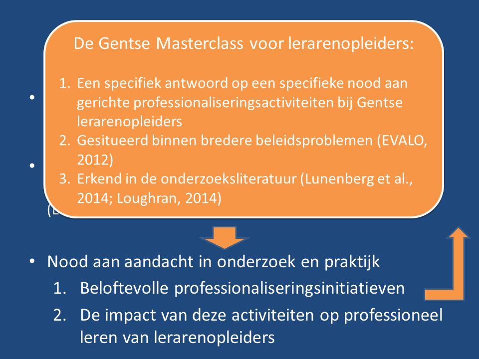 Problem statement Gebrek aan kennis over professioneel leren van lerarenopleiders in onderzoek, praktijk en beleid (Lunenberg et al., 2014) Geen forme
