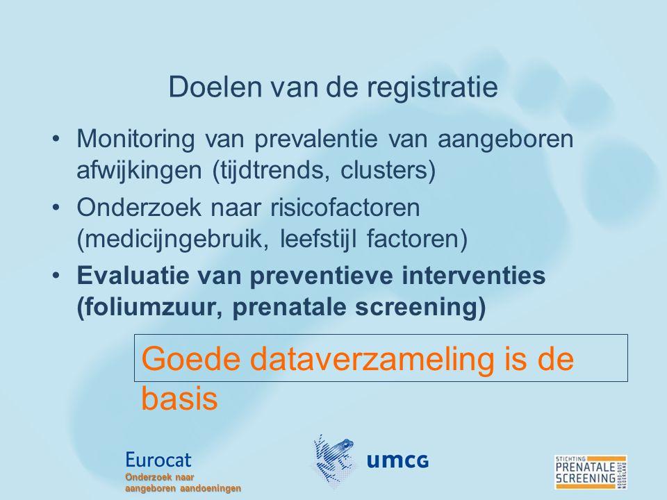 Doelen van de registratie Monitoring van prevalentie van aangeboren afwijkingen (tijdtrends, clusters) Onderzoek naar risicofactoren (medicijngebruik,