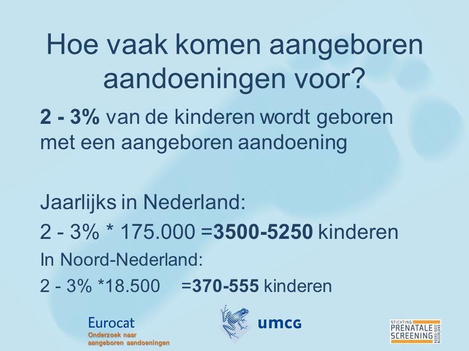 Hoe vaak komen aangeboren aandoeningen voor? 2 - 3% van de kinderen wordt geboren met een aangeboren aandoening Jaarlijks in Nederland: 2 - 3% * 175.0