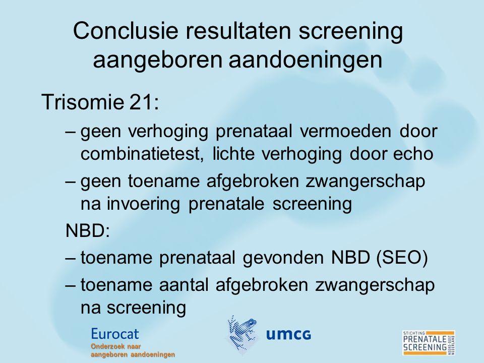 Conclusie resultaten screening aangeboren aandoeningen Trisomie 21: –geen verhoging prenataal vermoeden door combinatietest, lichte verhoging door ech