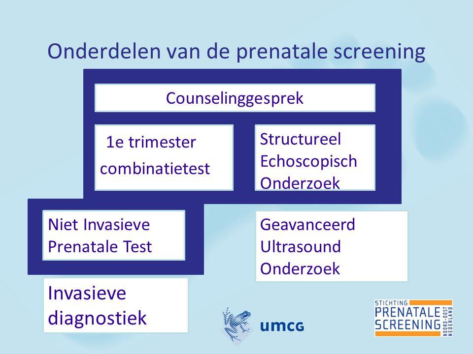 Onderdelen van de prenatale screening 1e trimester combinatietest Counselinggesprek Invasieve diagnostiek Niet Invasieve Prenatale Test Geavanceerd Ul