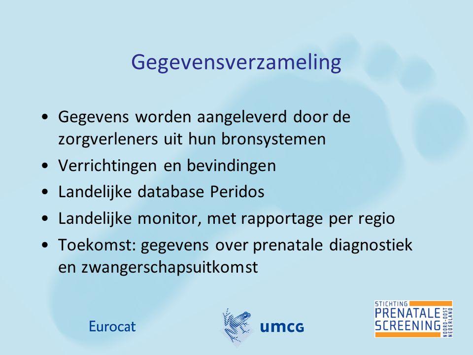 Uptake prenatale screening in 2012 Gegevens uit Peridos OnderdeelNoord Oost Nederland % (n) Heel Nederland (min-max % van 8 RC) Aantal zwangerschappen21.012128.682 Counseling voor CT77% (16.104)80% (75-86%) Counseling voor SEO83% (17.425)81% (68-86%) Deelname aan CT na counseling*17% (2.704)26% (17-38%) Deelname aan SEO na counseling*85% (14.769)81% (59-85%) Uit: Monitor 2012-Screeningsprogramma downsyndroom en Structureel Echoscopisch Onderzoek (www.rivm.nl)www.rivm.nl * Niet alle CT en SEO uitgevoerd in 2013, na counseling in 2012, zijn meegenomen, daadwerkelijk % ligt waarschijnlijk hoger