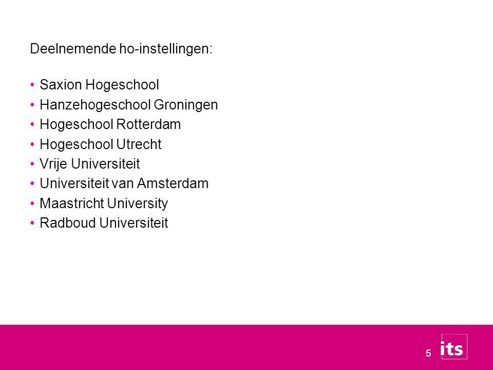 5 Deelnemende ho-instellingen: Saxion Hogeschool Hanzehogeschool Groningen Hogeschool Rotterdam Hogeschool Utrecht Vrije Universiteit Universiteit van Amsterdam Maastricht University Radboud Universiteit