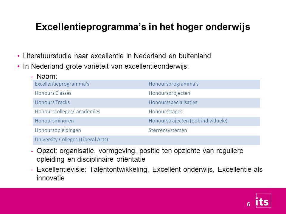 6 Excellentieprogramma's in het hoger onderwijs Literatuurstudie naar excellentie in Nederland en buitenland In Nederland grote variëteit van excellentieonderwijs: -Naam: -Opzet: organisatie, vormgeving, positie ten opzichte van reguliere opleiding en disciplinaire oriëntatie -Excellentievisie: Talentontwikkeling, Excellent onderwijs, Excellentie als innovatie Excellentieprogramma'sHonoursprogramma's Honours ClassesHonoursprojecten Honours TracksHonoursspecialisaties Honourscolleges/ ‑ academiesHonoursstages HonoursminorenHonourstrajecten (ook individuele) HonoursopleidingenSterrensystemen University Colleges (Liberal Arts)