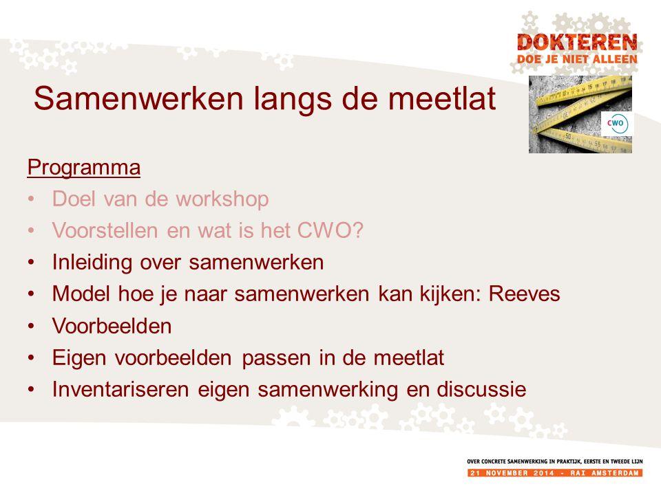 Programma Doel van de workshop Voorstellen en wat is het CWO.