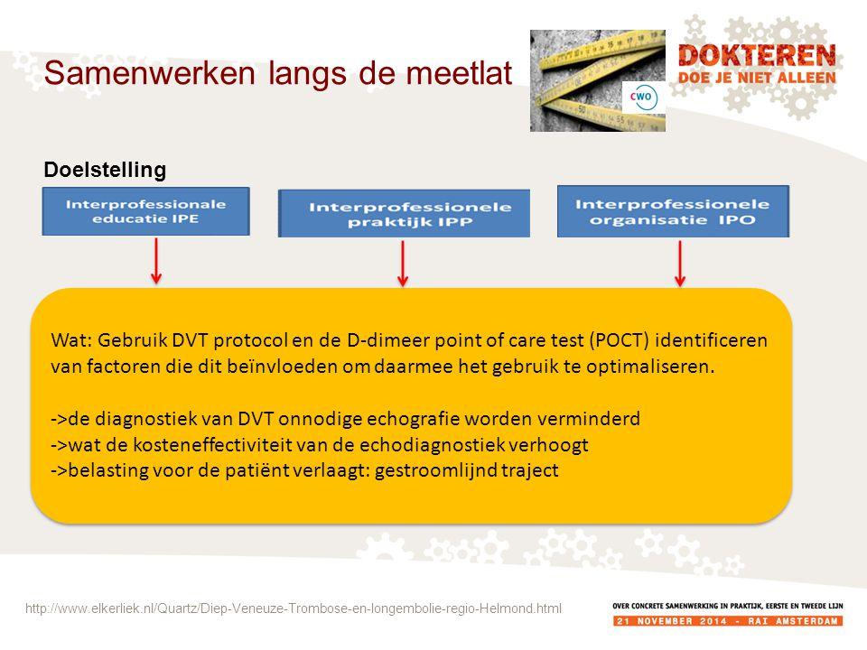 Samenwerken langs de meetlat Doelstelling Wat: Gebruik DVT protocol en de D-dimeer point of care test (POCT) identificeren van factoren die dit beïnvloeden om daarmee het gebruik te optimaliseren.