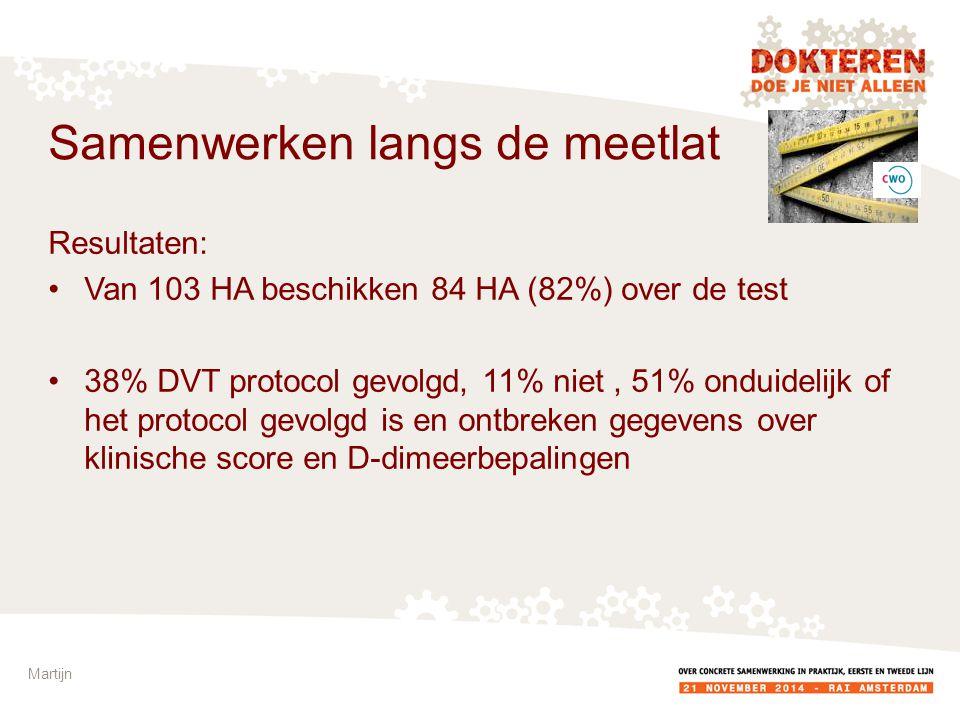 Resultaten: Van 103 HA beschikken 84 HA (82%) over de test 38% DVT protocol gevolgd, 11% niet, 51% onduidelijk of het protocol gevolgd is en ontbreken gegevens over klinische score en D-dimeerbepalingen Martijn Samenwerken langs de meetlat