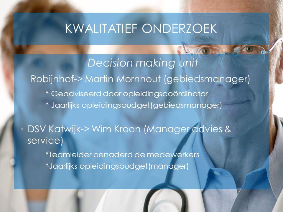 KWALITATIEF ONDERZOEK Decision making unit Robijnhof-> Martin Mornhout (gebiedsmanager) * Geadviseerd door opleidingscoördinator * Jaarlijks opleiding