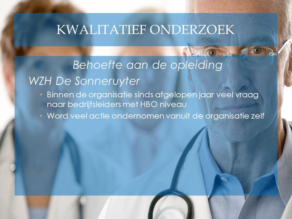 KWALITATIEF ONDERZOEK Behoefte aan de opleiding WZH De Sonneruyter Binnen de organisatie sinds afgelopen jaar veel vraag naar bedrijfsleiders met HBO