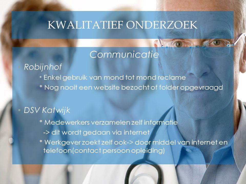 KWALITATIEF ONDERZOEK Communicatie Robijnhof * Enkel gebruik van mond tot mond reclame * Nog nooit een website bezocht of folder opgevraagd DSV Katwij