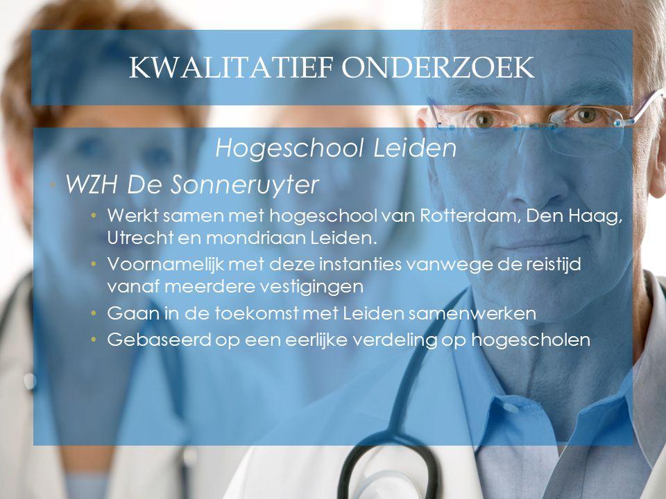 KWALITATIEF ONDERZOEK Hogeschool Leiden WZH De Sonneruyter Werkt samen met hogeschool van Rotterdam, Den Haag, Utrecht en mondriaan Leiden. Voornameli