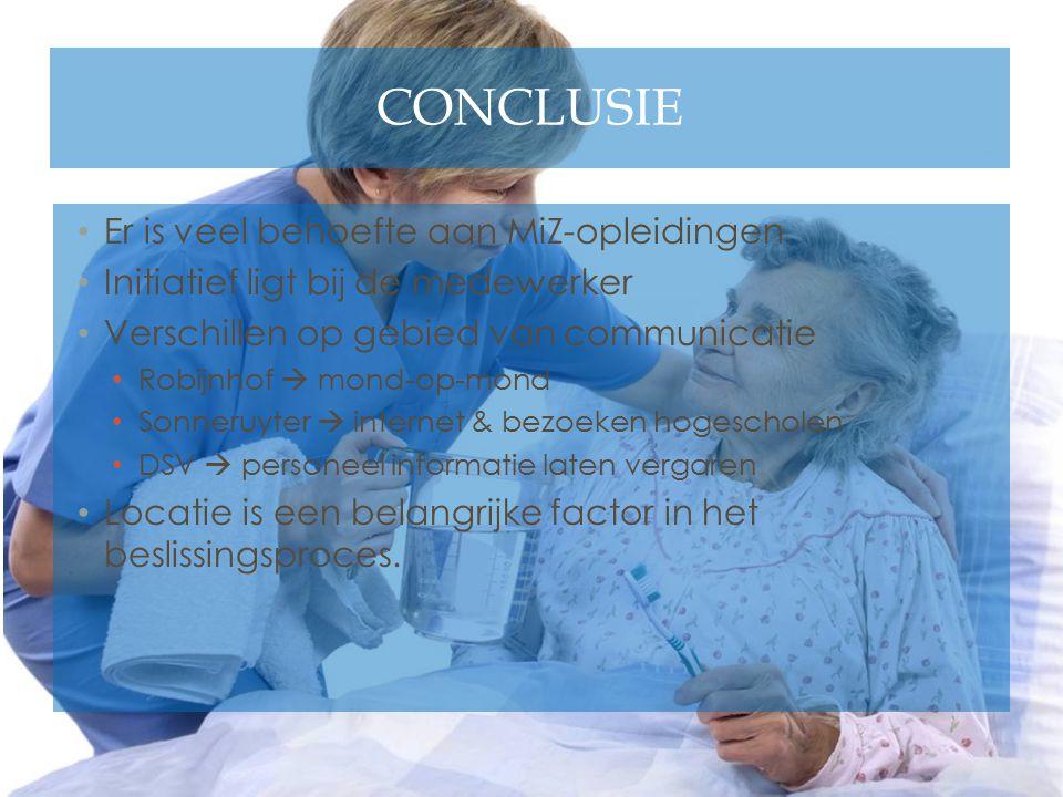 CONCLUSIE Er is veel behoefte aan MiZ-opleidingen Initiatief ligt bij de medewerker Verschillen op gebied van communicatie Robijnhof  mond-op-mond So