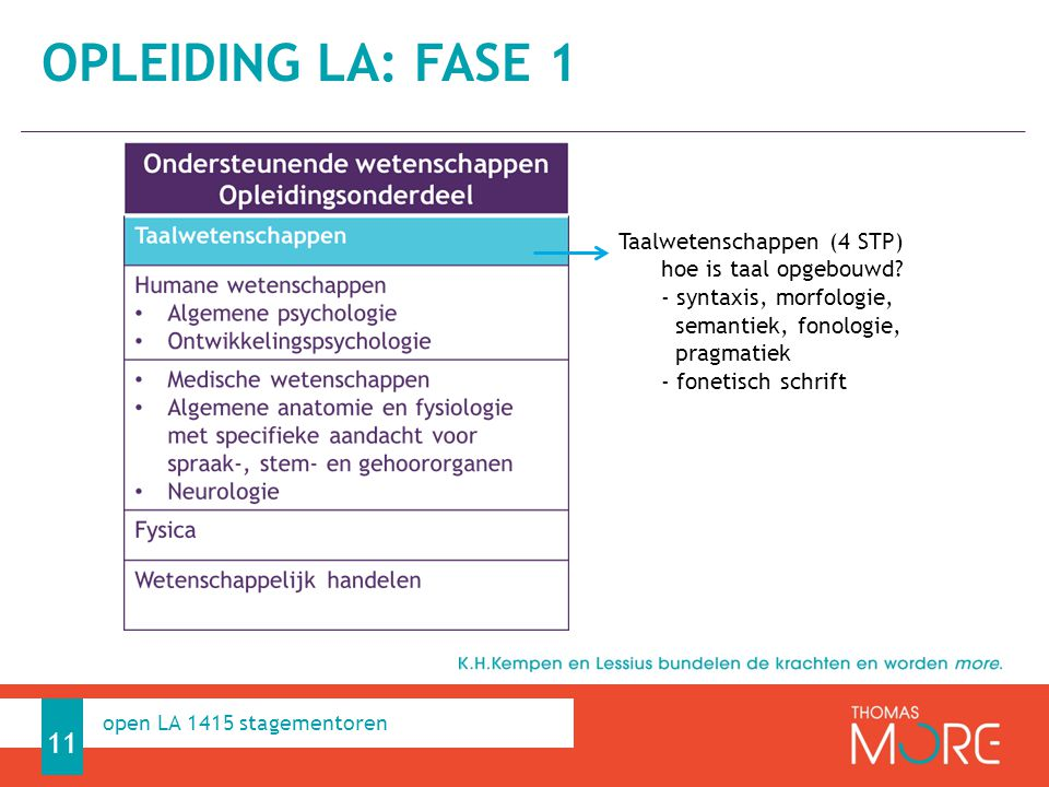 Professioneel Handelen 11 open LA 1415 stagementoren Taalwetenschappen (4 STP) hoe is taal opgebouwd.